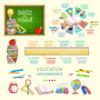 Education infographics elements template back to school