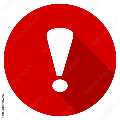 Obraz Flat design red round warning vector icon - fototapety do salonu