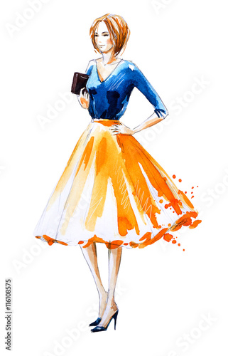 Watercolor fashion illustration, hand painted Wall mural