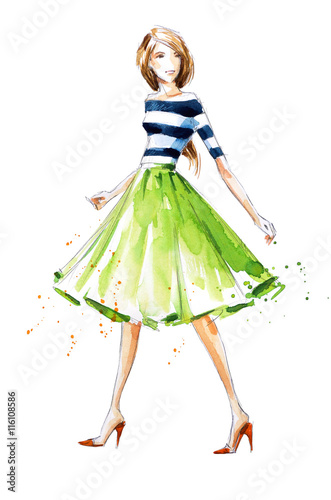 Watercolor fashion illustration, hand painted