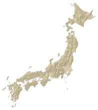 Relief Map Of Japan - 3D-Rendering