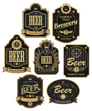 Set Of Vector Labels For Beer ...