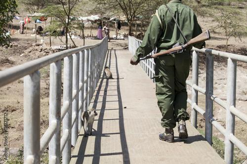 Canvas Print Game warden in Kenya