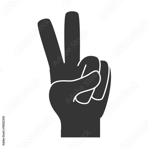 hand peace symbol sign , isolated flat icon design Canvas