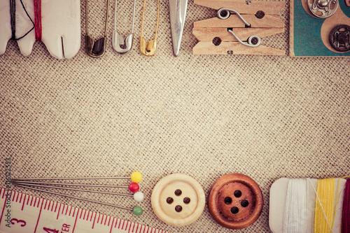 Fotobehang Stof 裁縫道具 フラット レイアウト