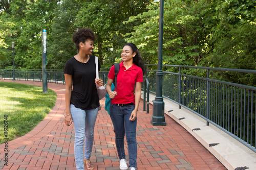 2 young african american college student chatting on campus - Buy