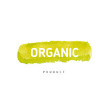 Beautiful Hand Drawn Button In Watercolor Style With Paper Texture. Vector Organic Badge For Vegetarian Products. UI Element. Bio Emblem.