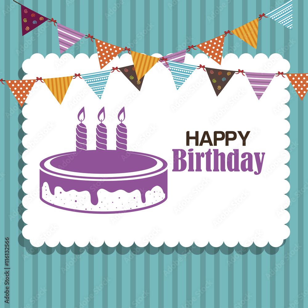 Happy Birthday Cake Isolated Icon Design Vector Illustration Graphic Foto Poster Wandbilder Bei EuroPosters