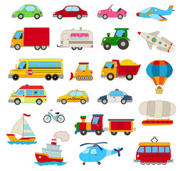 Naklejka set of cartoon cars, vehicles, other transportation on white