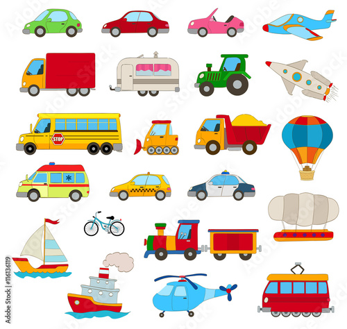 Foto op Canvas Cartoon cars set of cartoon cars, vehicles, other transportation on white