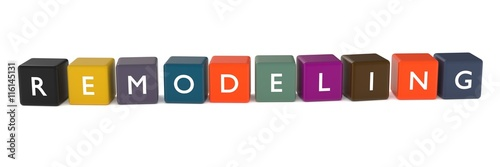 Fotografie, Obraz  3d illustration of REMODELING word from colored cubes