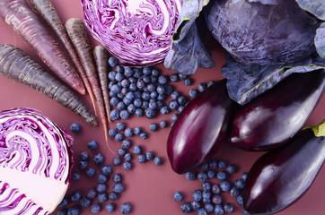 Fototapeta samoprzylepna Purple fruits and vegetables