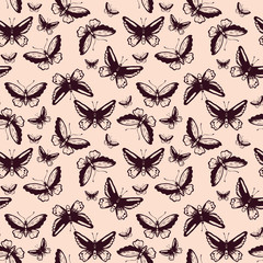 Seamless pattern with butterflies. Vector seamless texture for wallpapers, pattern fills, web page backgrounds