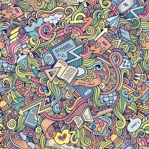 Fotografie, Obraz  Cartoon vector doodles hand drawn school frame