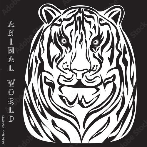 Fototapety, obrazy: black and white silhouette illustration of a tiger white animal world inscription black background vector