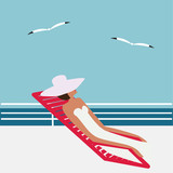 woman in a white hat on a sun lounger on the deck in a sea gull abstract art illustration minimalism flat style vector - 116161310