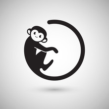 Cute Monkey Logo In A Shape Of...