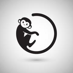 Fototapeta Cute monkey logo in a shape of a circle, New Year 2016, vector illustration logo design