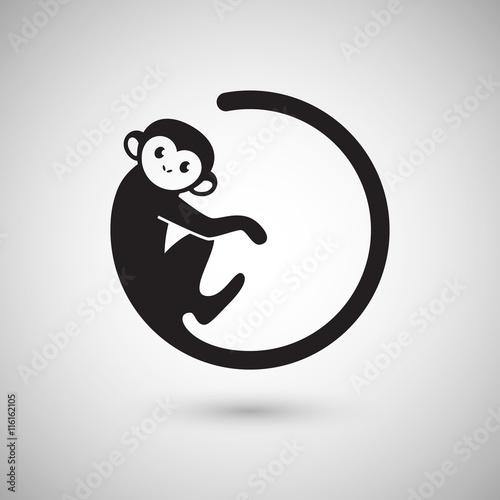 Fototapeta premium Logo słodkie małpy w kształcie koła, Nowy Rok 2016, projektowanie logo ilustracji wektorowych