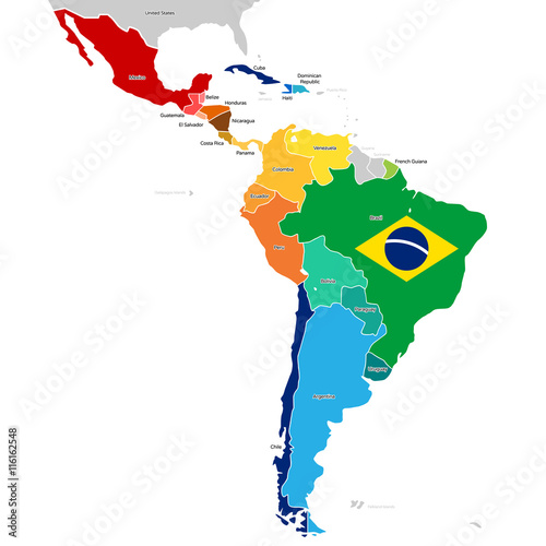 Stampa su Tela  Countries of Latin America with names