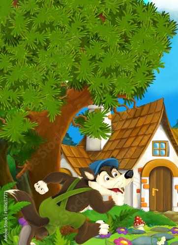 Foto op Aluminium Zoo Cartoon scene of wolf running into old house - illustration for children