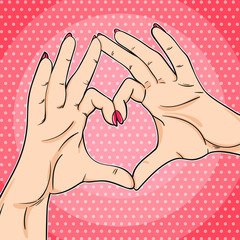 Love hand sign in pop art comic style vector illustration. Female hands showing heart symbol.
