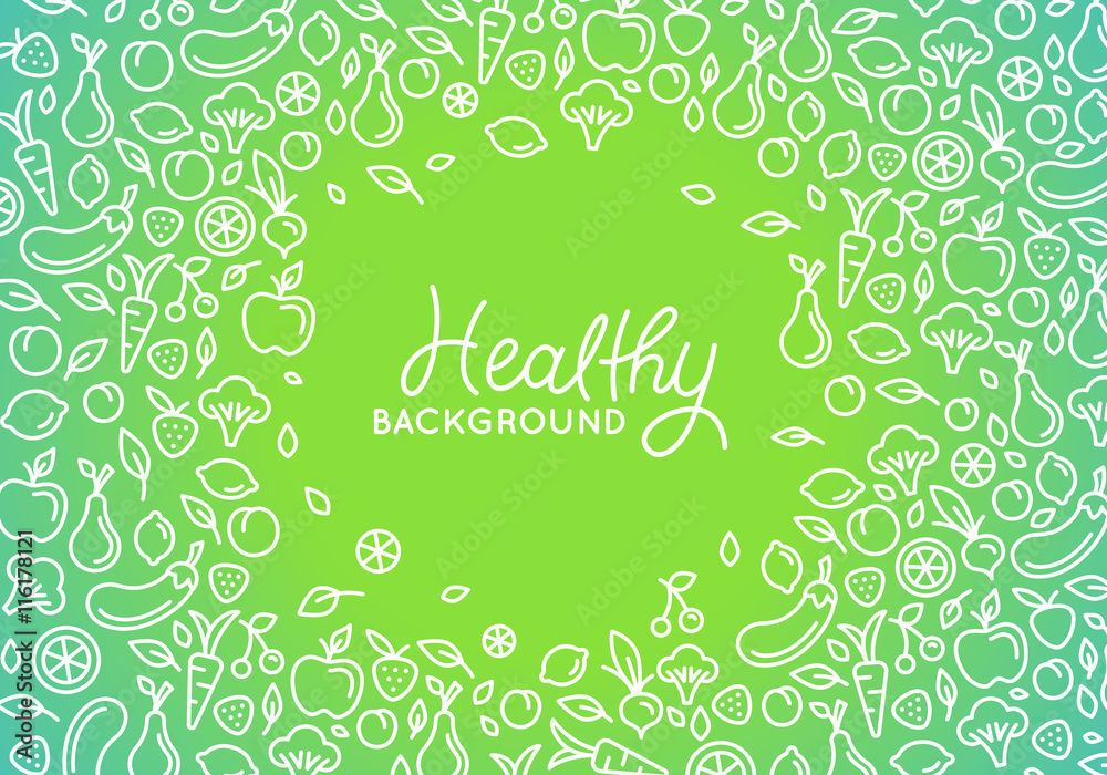 Fototapety, obrazy: Vector design template with line icons - healthy background - motivational and inspirational poster or card for health and fitness centers, yoga studios, organic and vegetarian food stores