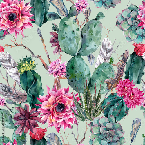 Cotton fabric Cactus watercolor seamless pattern in boho style.