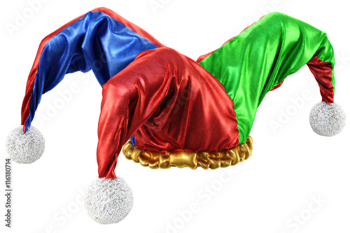 Cuadros en Lienzo jester hat isolated on white background. 3d illustration.