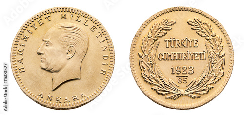 Turkish Gold Coin Back Ata Lira Isolated