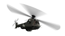 Military Helicopter In Flight Isolated On White