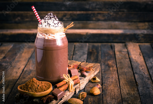 Foto op Canvas Chocolade Chocolate milkshake with whipped cream