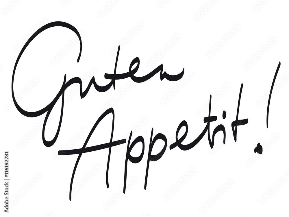 """Handschrift: """"Guten Appetit!"""" / schwarz-weiß, Vektor, freigestellt ..."""