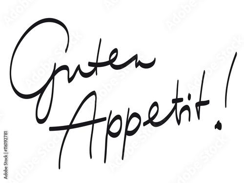 """Handschrift: """"Guten Appetit!"""" / schwarz-weiß, Vektor, freigestellt Canvas Print"""