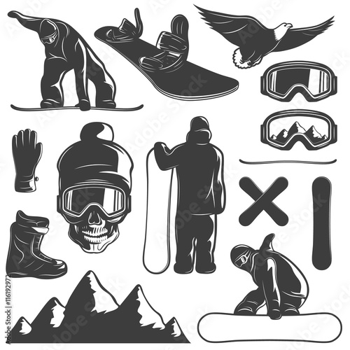 Snowboarding Icon Set Wall mural