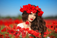 Beautiful Brunette Woman In Poppies Field With Flowers, Attracti