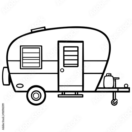 Fotografie, Obraz Camper Illustration