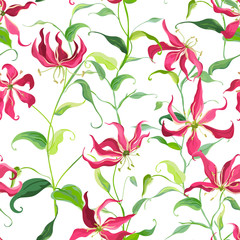 Tropical Leaves and Floral Background - Fire Lily Flowers - Seamless Pattern