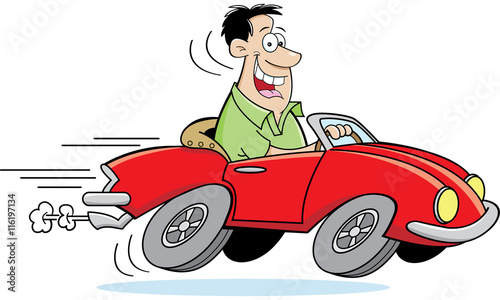 Staande foto Cartoon cars Cartoon illustration of a man driving a car.