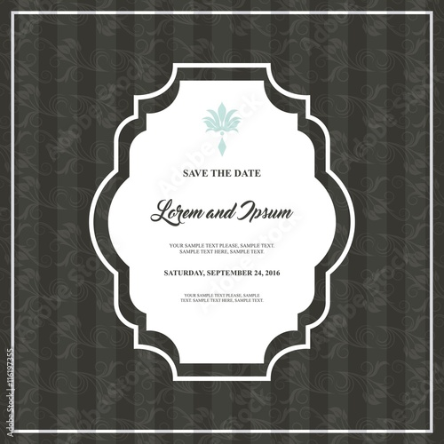 Papiers peints Affiche vintage Card icon. Invitation and Save the date design. Vector graphic