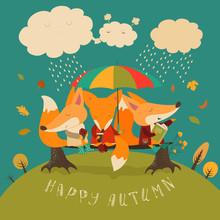 Cute Foxes Sitting Under An Umbrella On A Log