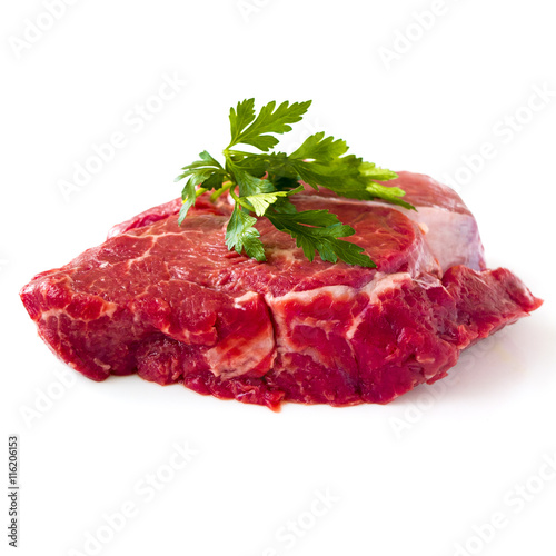 Poster Pays d Europe Raw beef fillet steak with sprig of parsley on white background, isolated