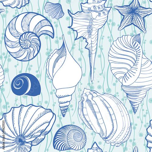 seashell-bezszwowy-wzor-tlo-wakacje-lato-morskich-podwodna-ozdobna-textured-szkicuje-tapeta-z-dennymi-skorupami-denna-gwiazda-i-pia