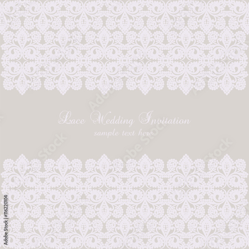 Vector Lace Crochet Card Background Wedding Invitation Or