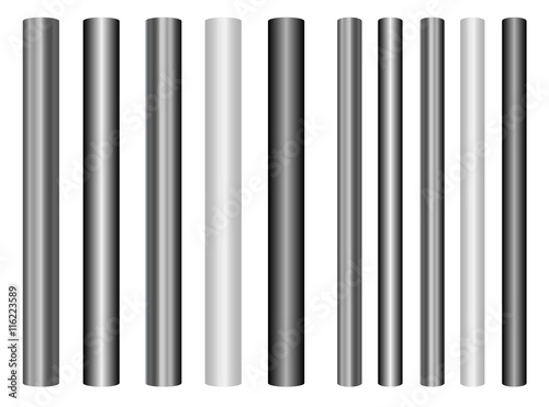Scaleable shiny steel poles collection in different styles Obraz na płótnie