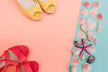 Summer Sandals And Seashells On Pastel Backgrounds. Fashion Style Minimalism Set. Flat Lay, Top View.