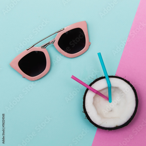 Fotografie, Obraz  Sunglasses with party fruit in minimalism