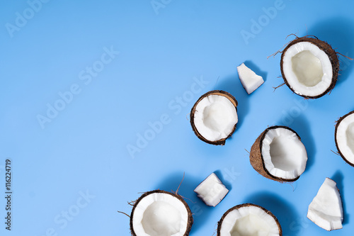 image of coconuts on blue background