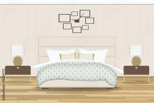 Bedroom Illustration Elevation Room With Bed Side Table Lamp
