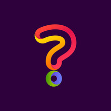 Question Mark Formed By Colorful Neon Line.